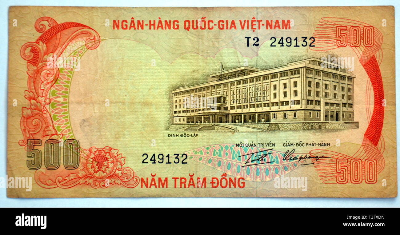 South Vietnamese 500 Dong Banknote from 1970's Showing the Palace of Independence Stock Photo