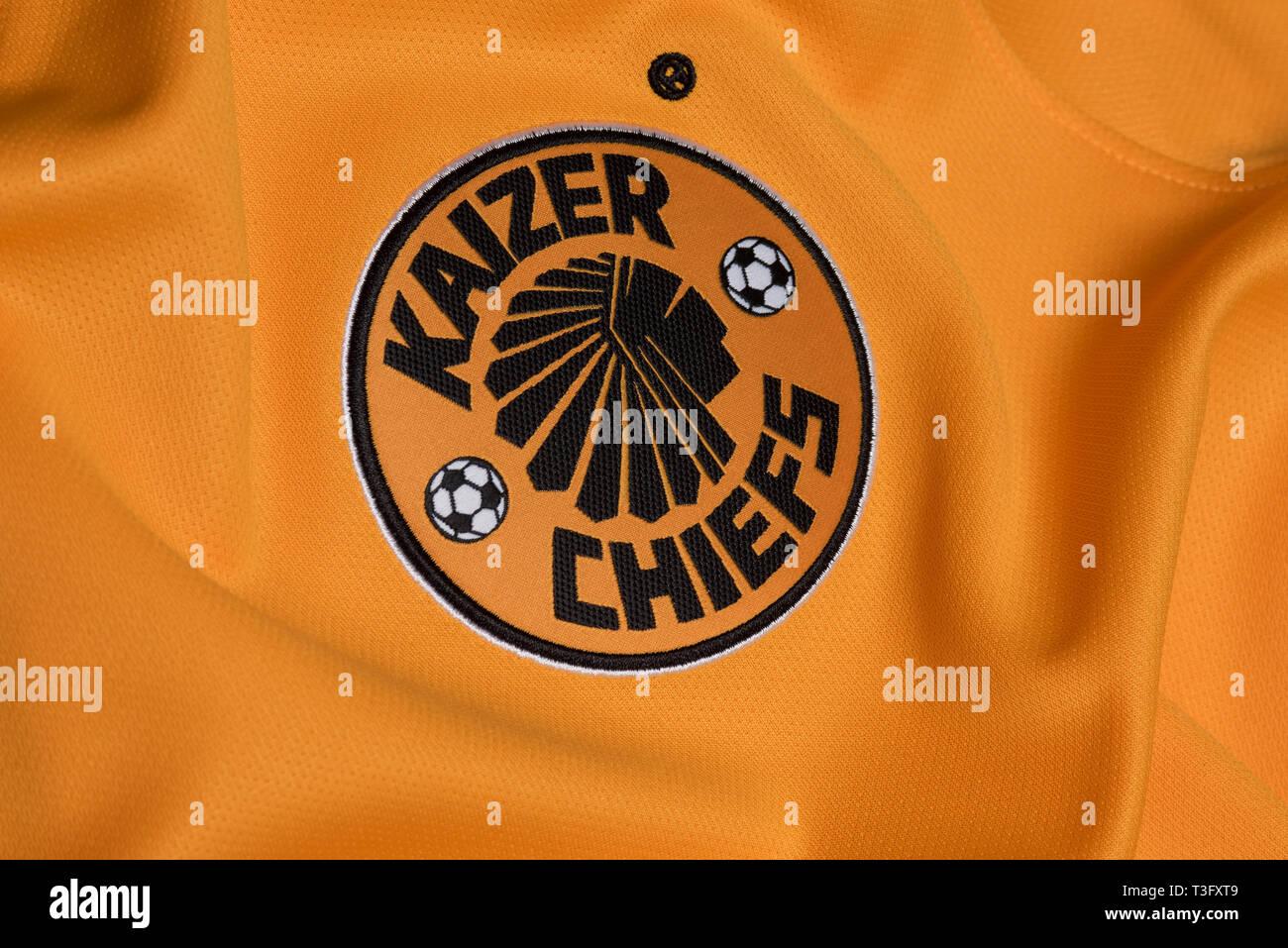 Close up of Kaizer Chiefs jersey. - Stock Image