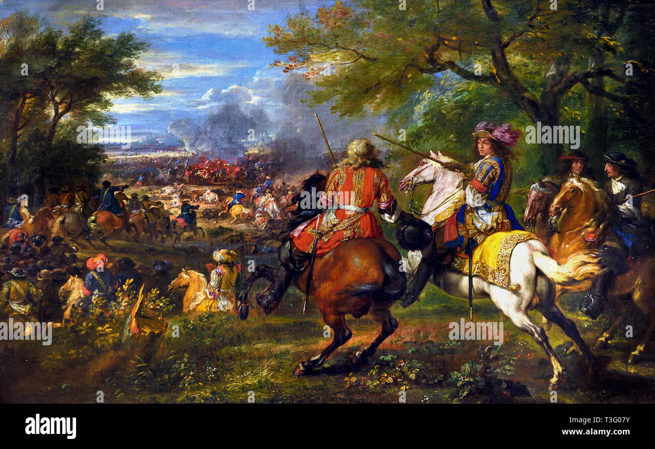 The defeat of the Spanish Army Near the Bruges Canal, 1667, Adam Frans van der MEULEN, 1632 - 1690, Belgian, Belgium, Flemish,(first war of Louis XIV, king of France from 1643 to 1715.) - Stock Image