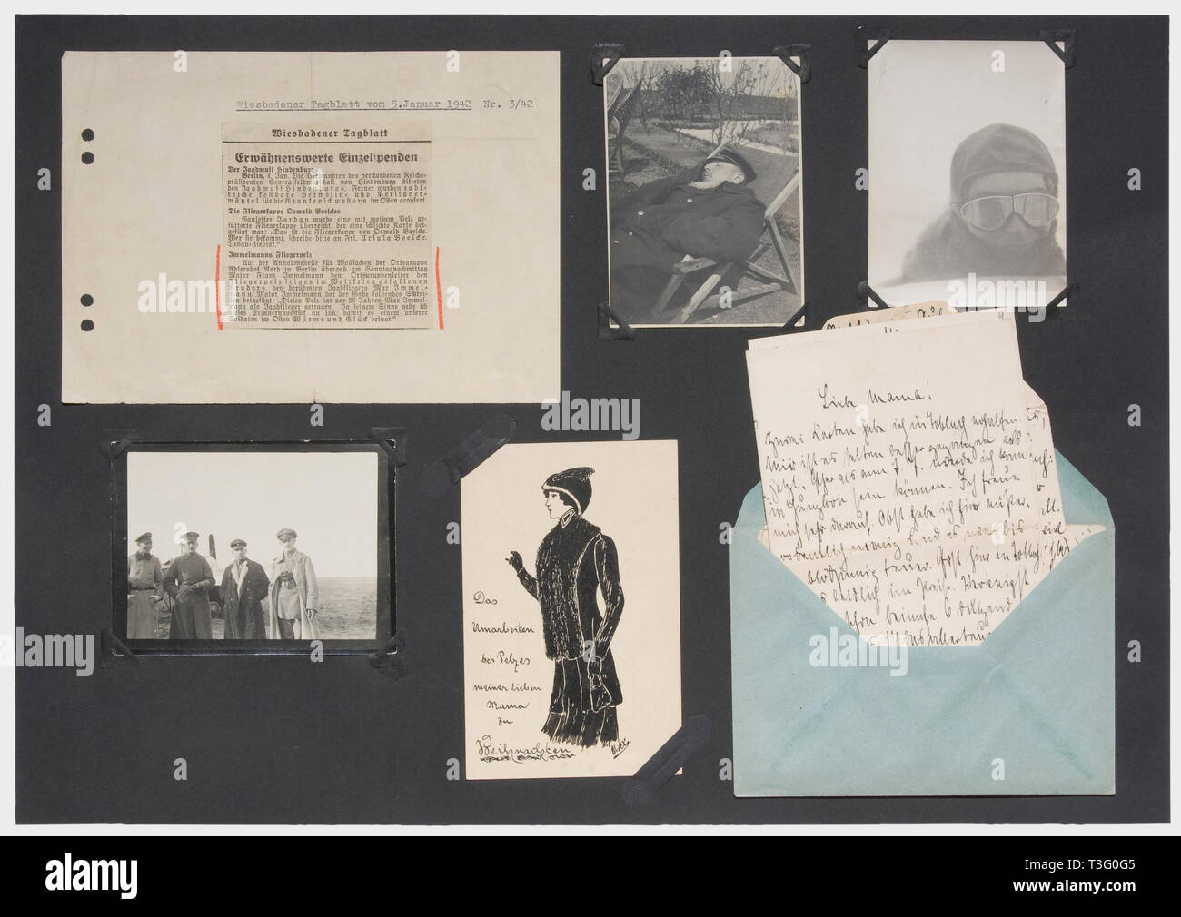 """First Lieutenant Max Immelmann (1890 - 1916), a letter to his mother, probably late 1915 Obviously written hastily in ink on chequered paper, short replies and a few questions answering some previous correspondence (""""Well, at least I have finally answered the postcards""""/""""Many, many warm greetings from your son Max""""). On the back """"The fur coat in the chest is from Englishman no. 6."""" ... The fur needs repair. ... Also the compass, the wristwatch from no. 6, a radio button on the undercarriage ... of no. 4, machine gun lock of no. 3. Identi historic, Additional-Rights-Clearance-Info-Not-Available Stock Photo"""