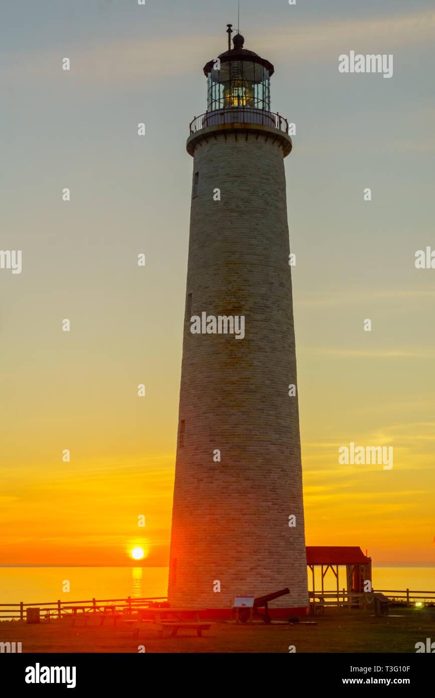 Sunrise in the Cap-des-Rosiers Lighthouse, Gaspe Peninsula, Quebec, Canada - Stock Image