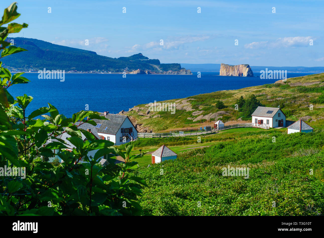 View of the Bonaventure Island and the Perce rock, at the tip of Gaspe Peninsula, Quebec, Canada - Stock Image