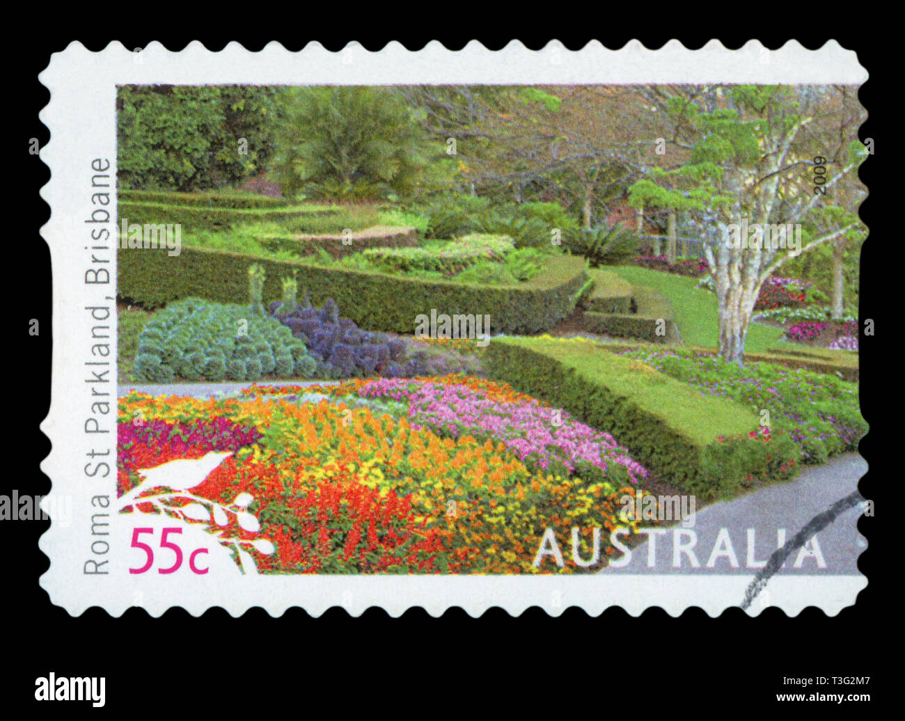 AUSTRALIA - CIRCA 2009: A used postage stamp from Australia, depicting an image of Roma Street Parkland in Brisbane, circa 2009. - Stock Image