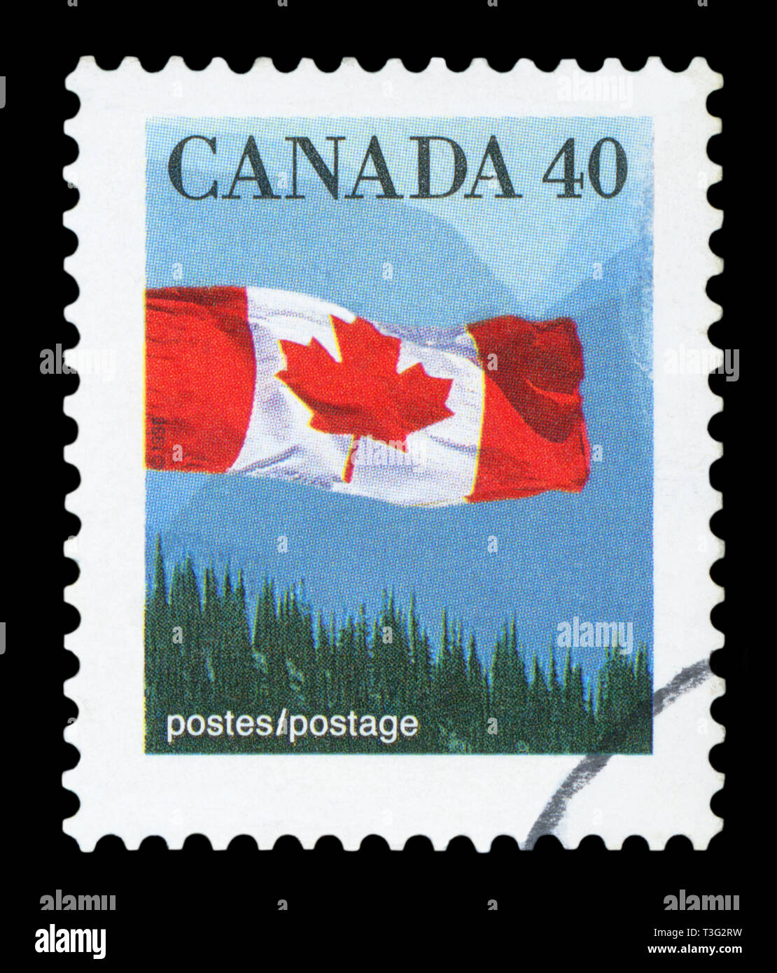 CANADA - CIRCA 1990: A stamp printed in Canada shows Canadian flag and Hills, circa 1990. Stock Photo