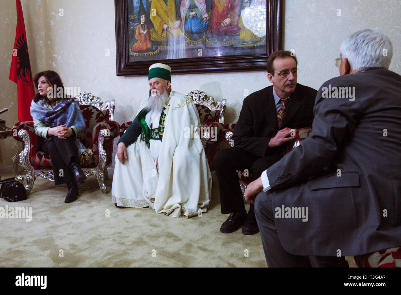 Tirana, Albania : Bektashi leader Haxhi Dede Reshat Bardhi receives dignataries of other religions and political leaders at the World Headquarters of  - Stock Image