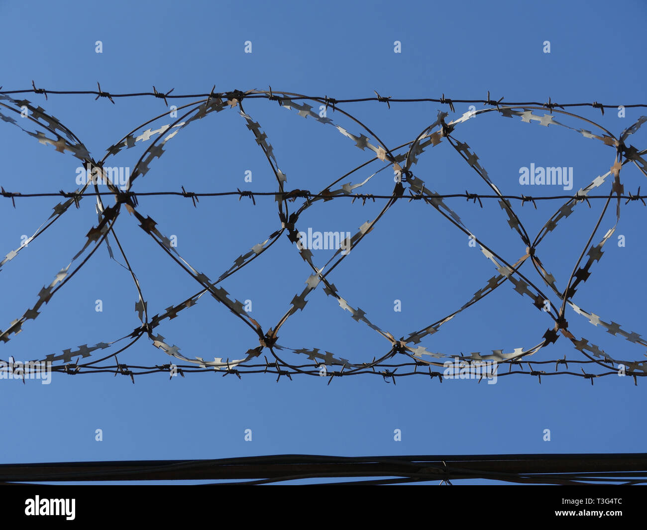 Barbed wire fence in the blue sky - Stock Image