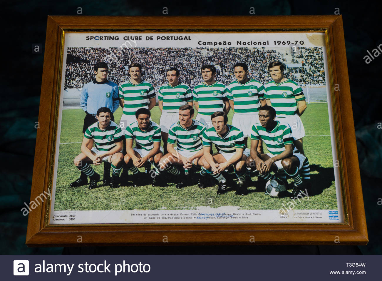 Sporting Clube De Portugal team picture postcard from the 1969, 1970 championship. - Stock Image