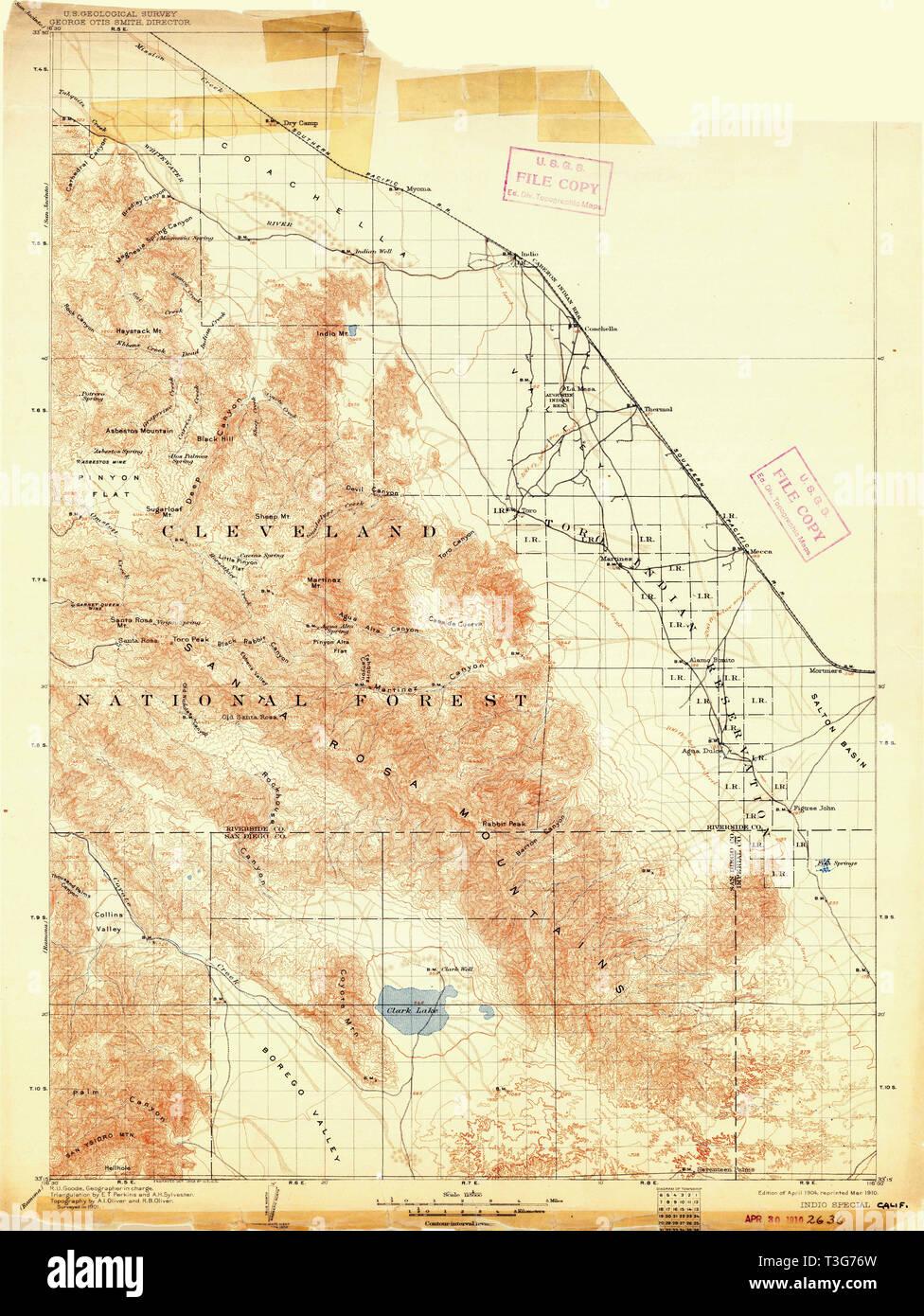 Map Of California Indio.Usgs Topo Map California Ca Indio 299377 1904 125000