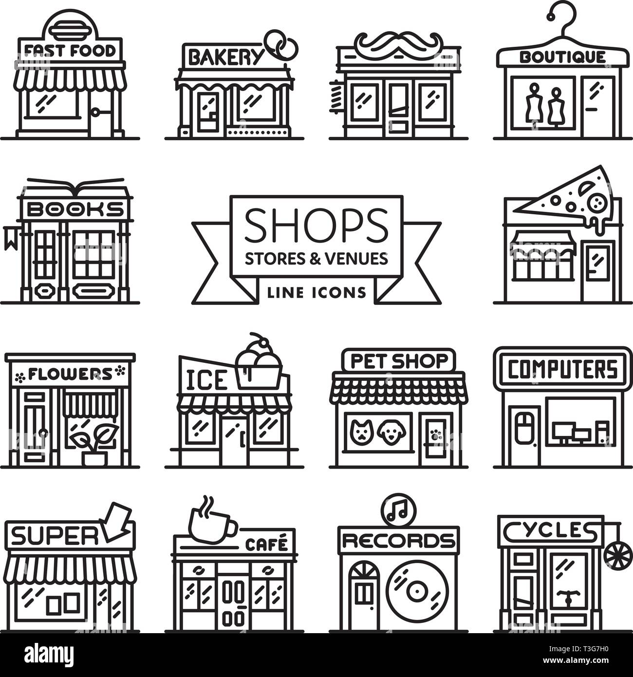 Shops, stores and venues line icons vector illustration collection Stock Vector