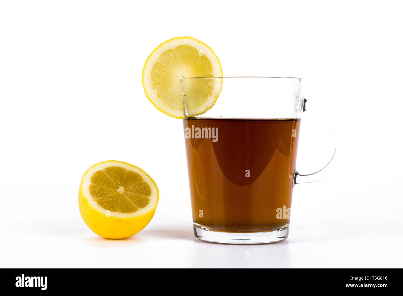 Slimming tea, cup with tea with lemon isolated on white background - Stock Image