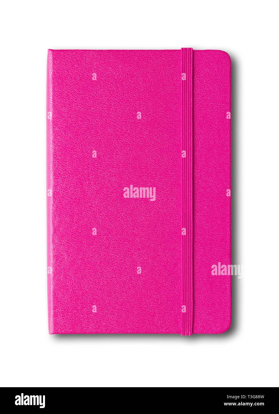 Magenta pink closed notebook mockup isolated on white - Stock Image