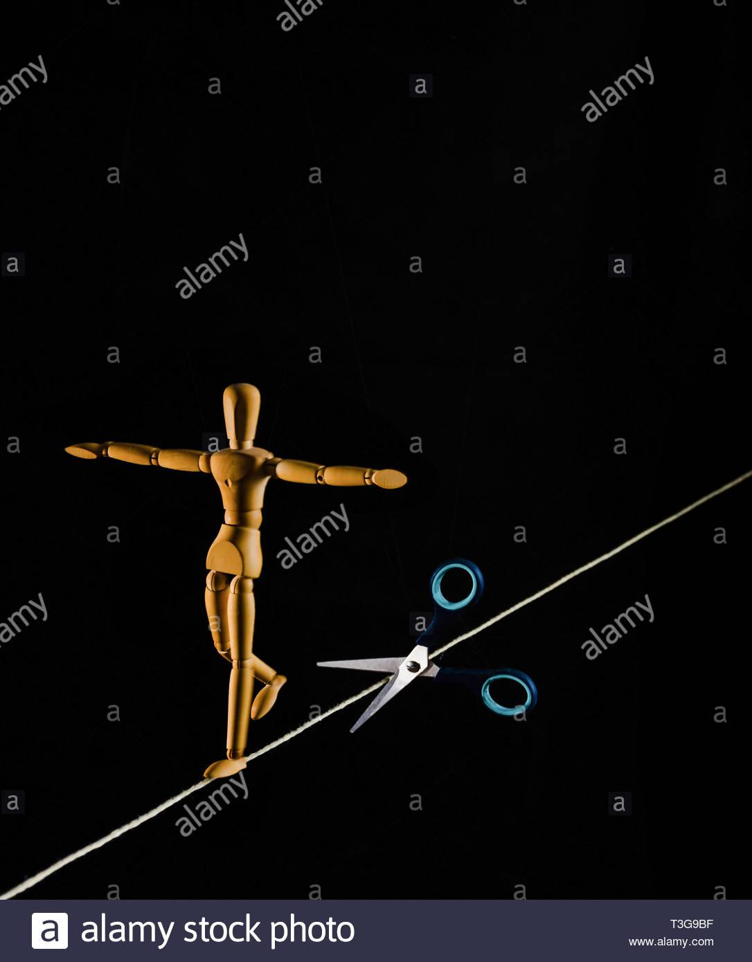 tightrope walker - Stock Image
