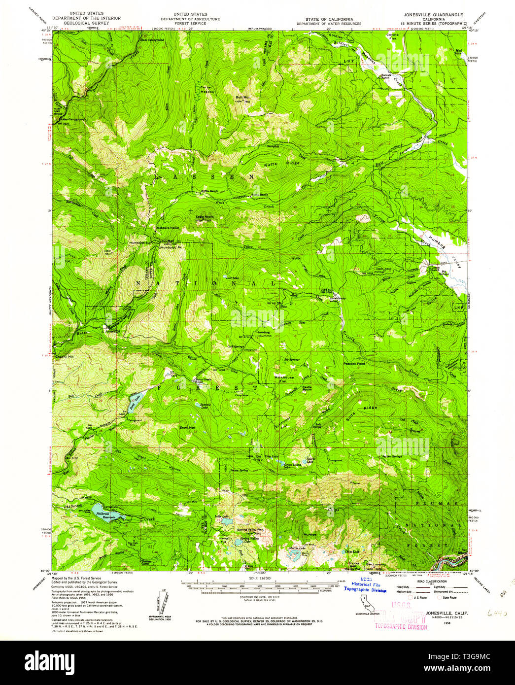 USGS TOPO Map California CA Jonesville 297836 1958 62500