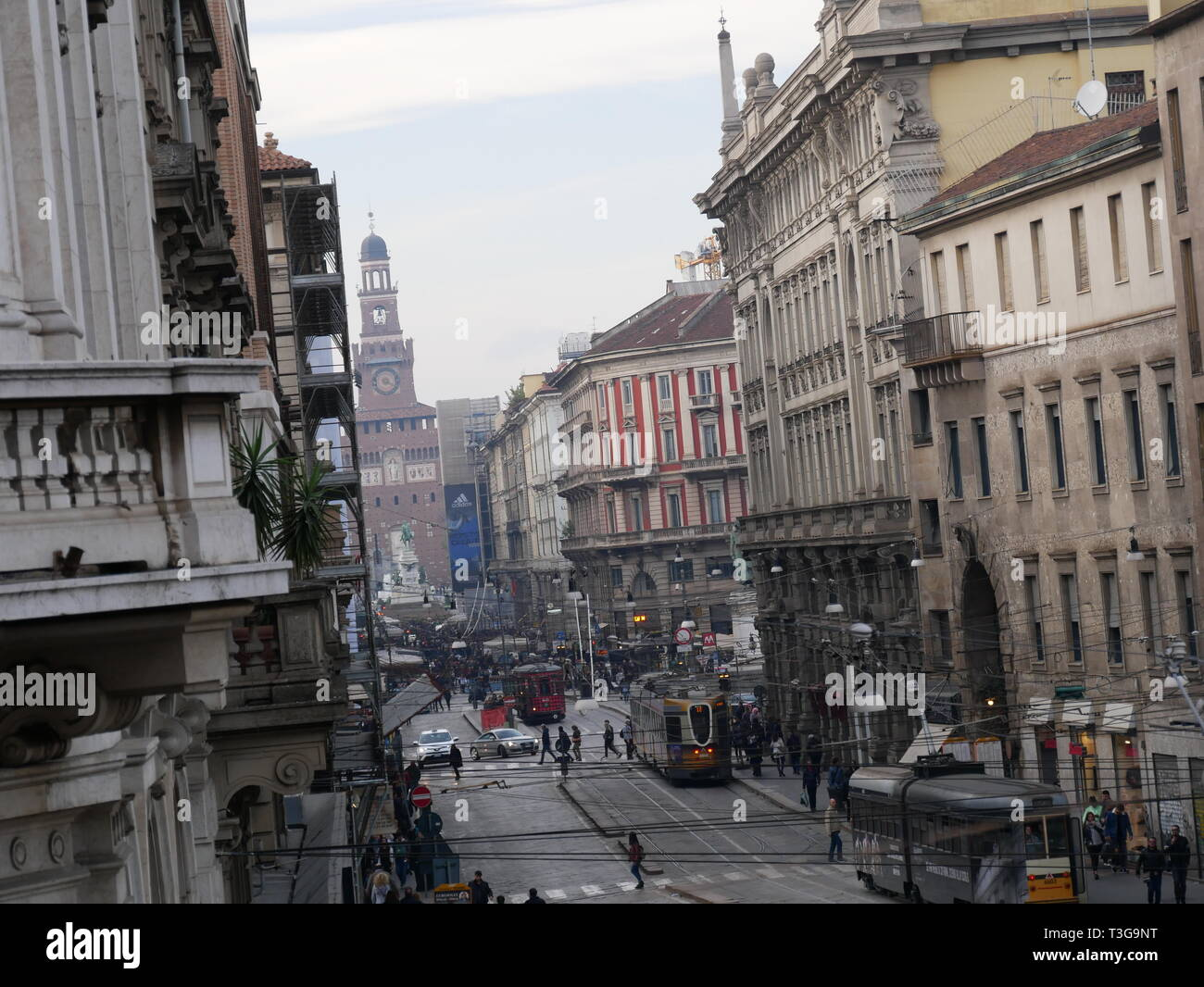 Italian vibrant sreet near city center - Stock Image