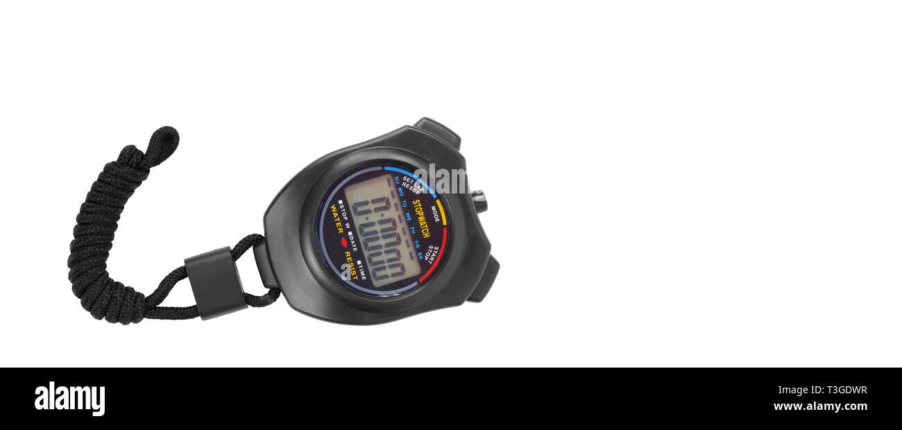 Sports equipment - Black Digital electronic Stopwatch on a white background. Isolated - Stock Image