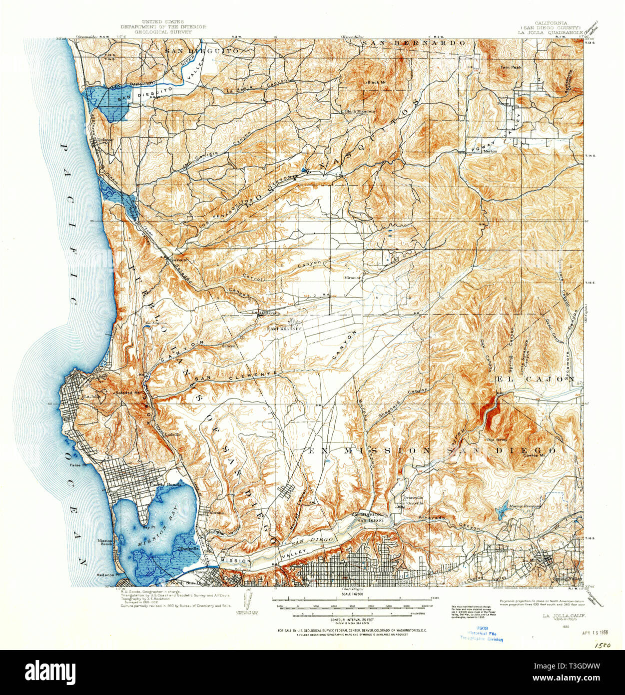 Map Of California La.Usgs Topo Map California Ca La Jolla 297916 1930 62500 Restoration