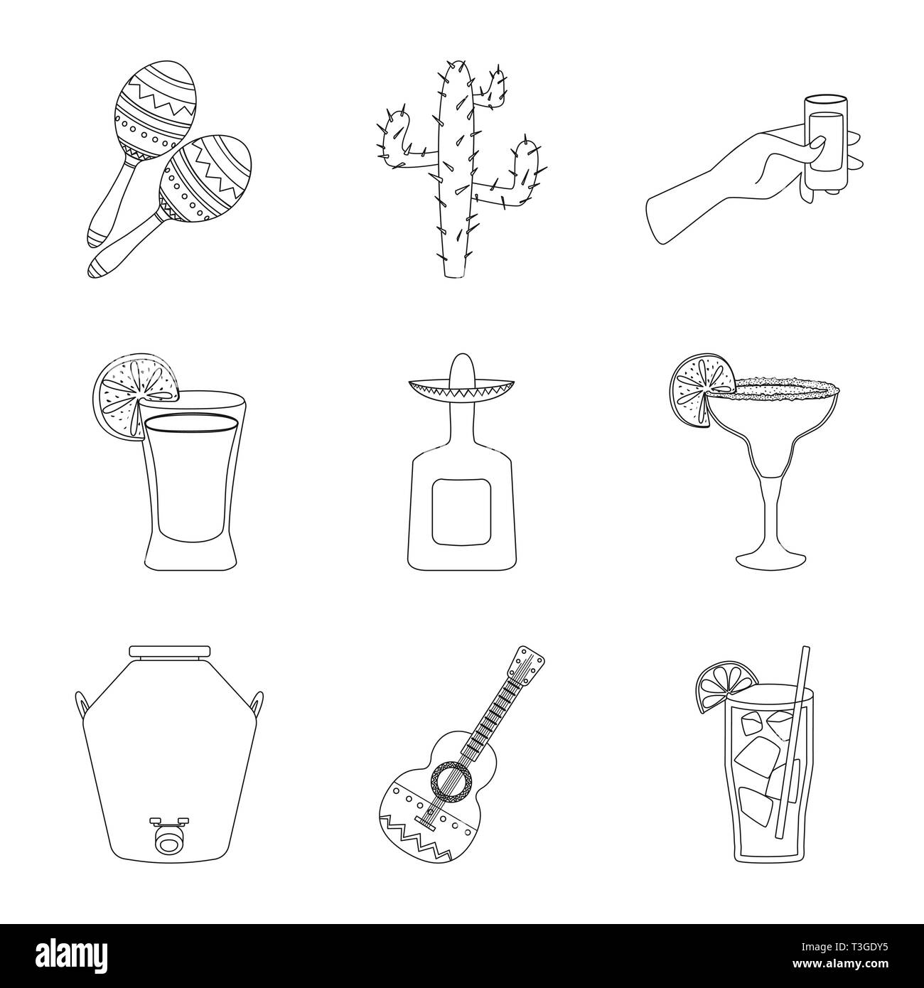 Isolated object of Mexico and tequila sign. Set of Mexico and fiesta stock symbol for web. - Stock Image