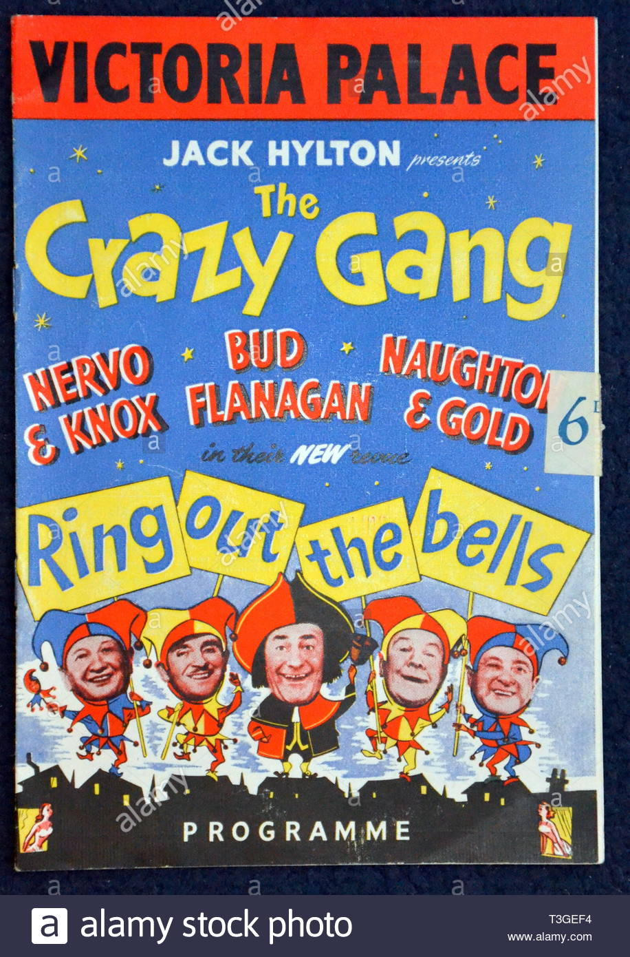 1950's Theatre Programme for The Crazy Gang Show at Victoria Palace Theatre, London,uk - Stock Image