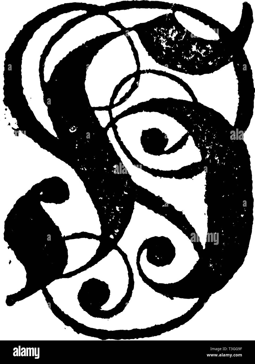 Antique vintage vector drawing or engraving of decorative ornamental capital letter H with ornaments. From Romische Historie, printed in Breslau,Kingdom of Prussia, 1762. Stock Vector