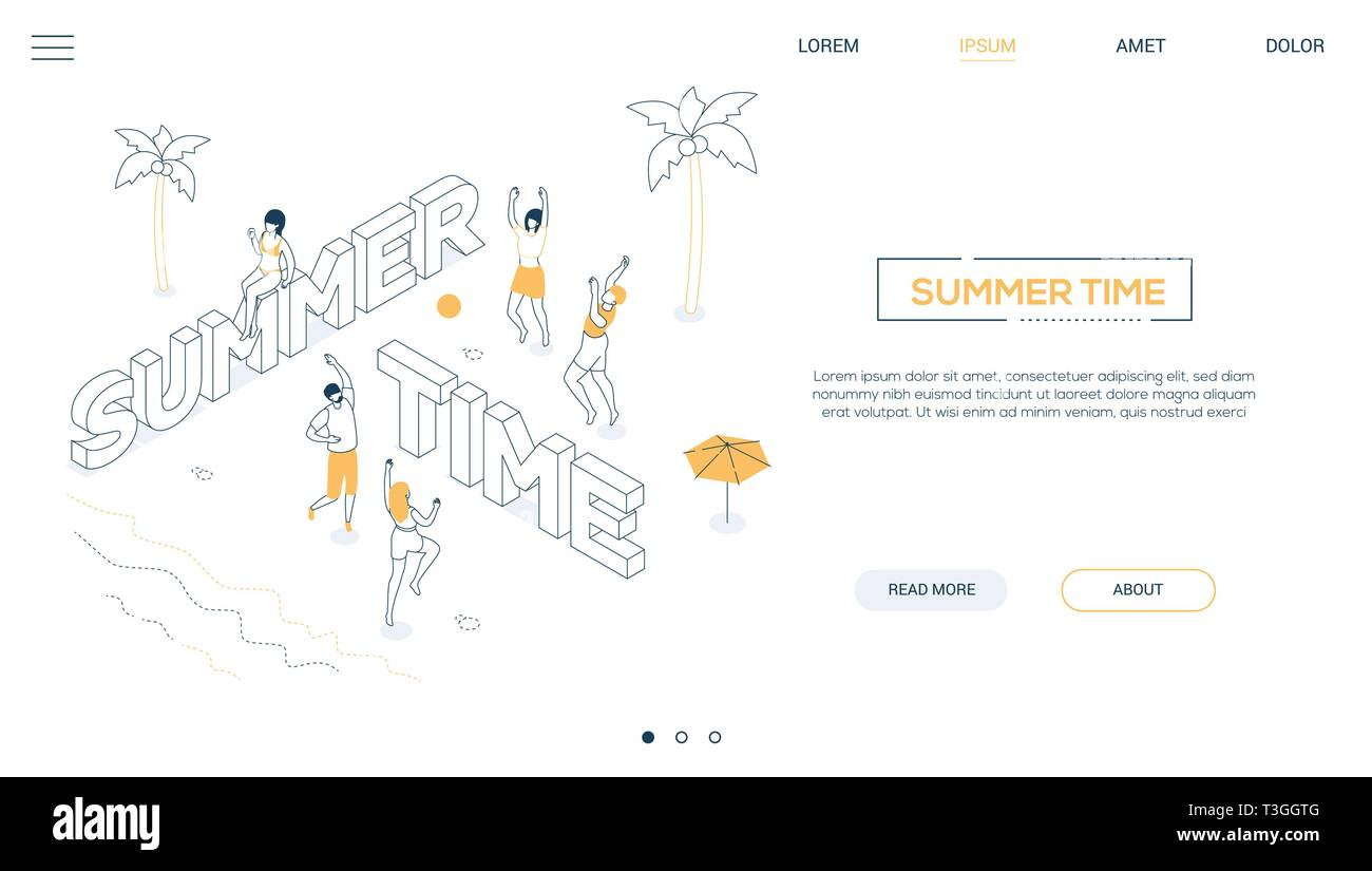 Summer time - line design style isometric web banner - Stock Vector