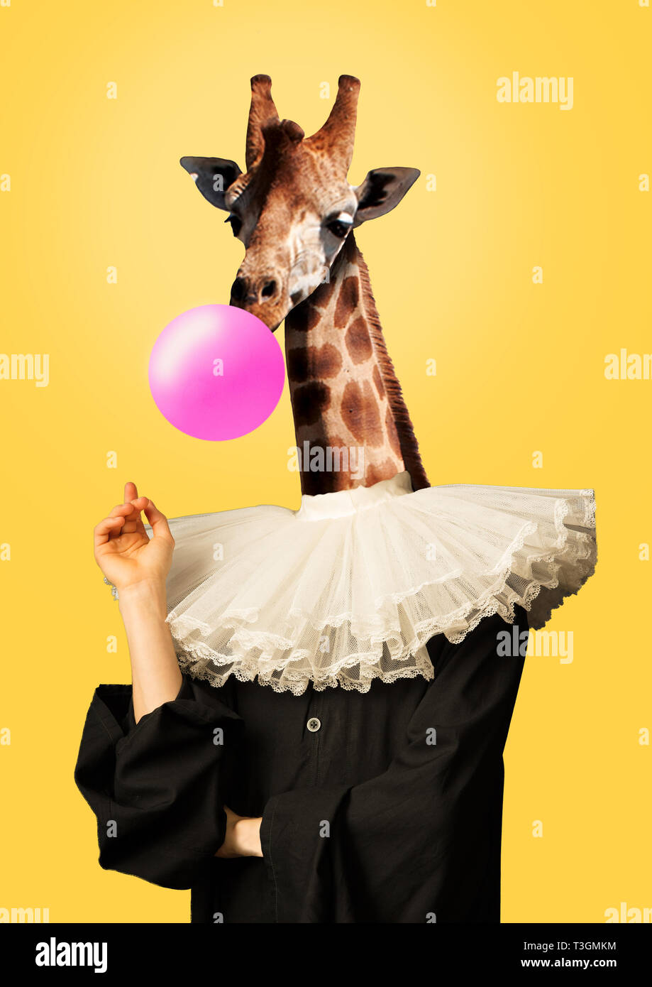 b08e40c5354 Female body in vintage or renaissance black clothes with giraffe head