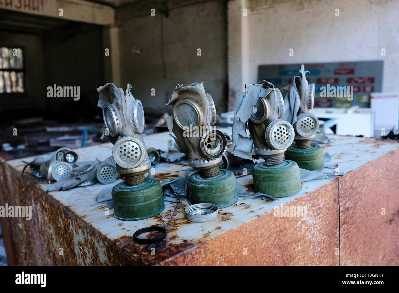 Abandoned gas masks inside the exclusion zone of Chernobyl, Ukraine, April 2019 - Stock Image