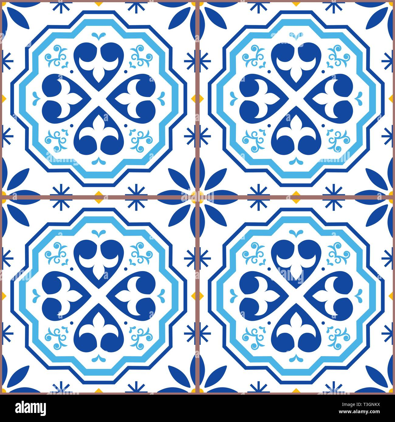 Portuguese tiles Azulejos vector seamless pattern, geometric repetitve design - textile or wallpaper background - Stock Vector