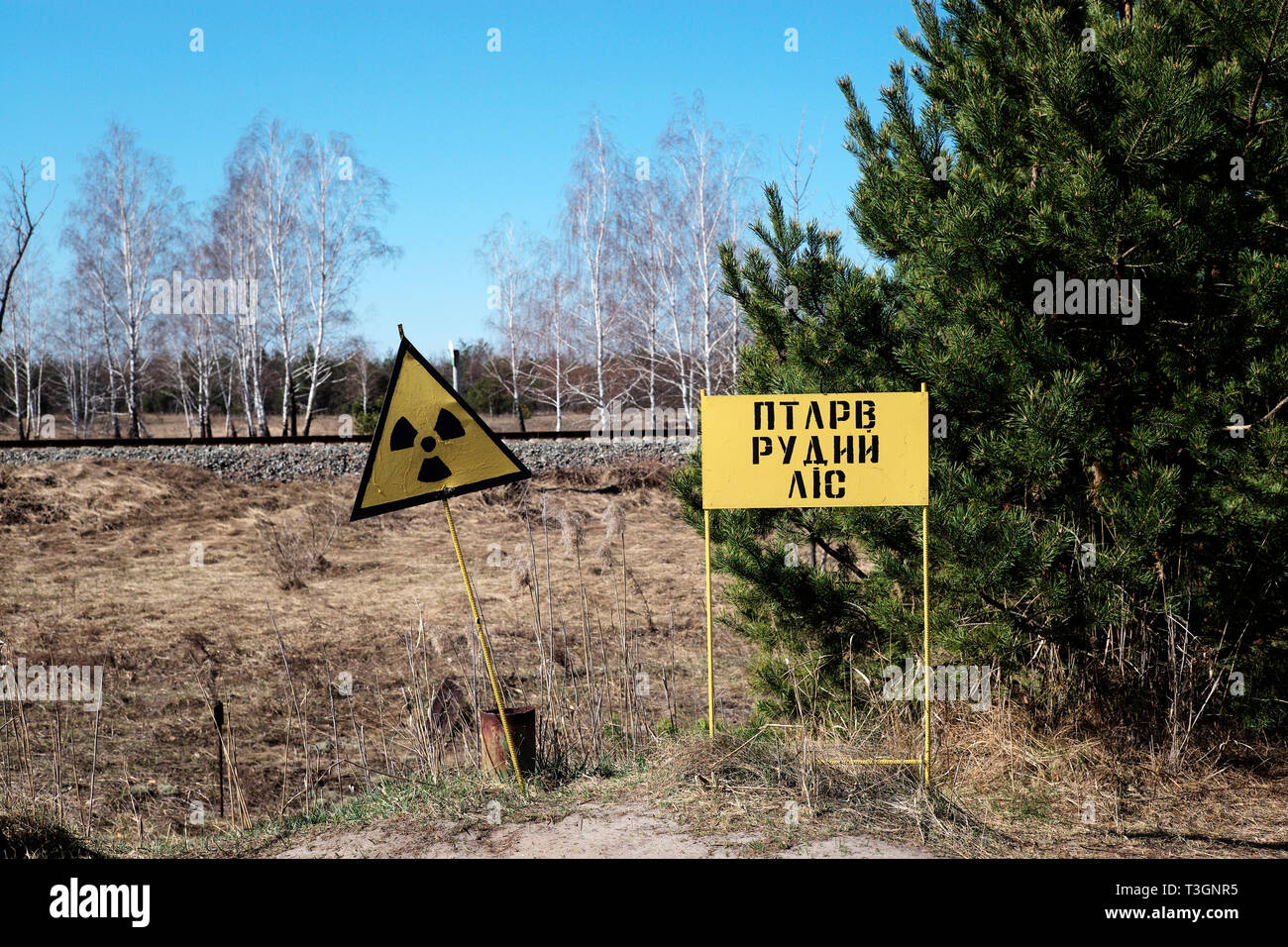 Radiation warning in the exclusion zone of Chernobyl, Ukraine, April 2019 - Stock Image