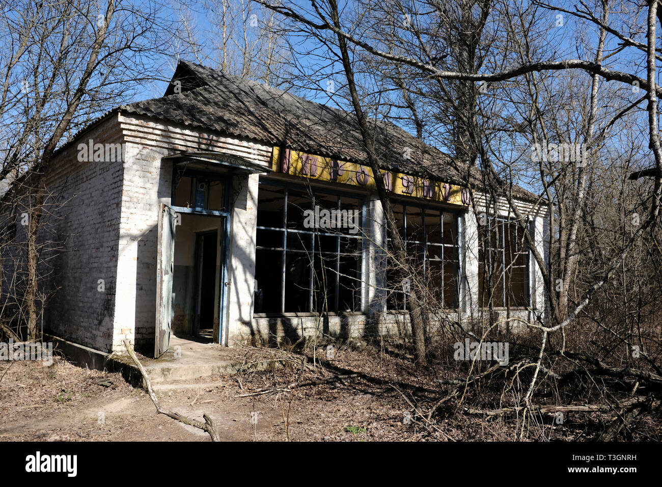 Abandoned building in the village of Zalissia, inside the Chernobyl exclusion zone - Stock Image
