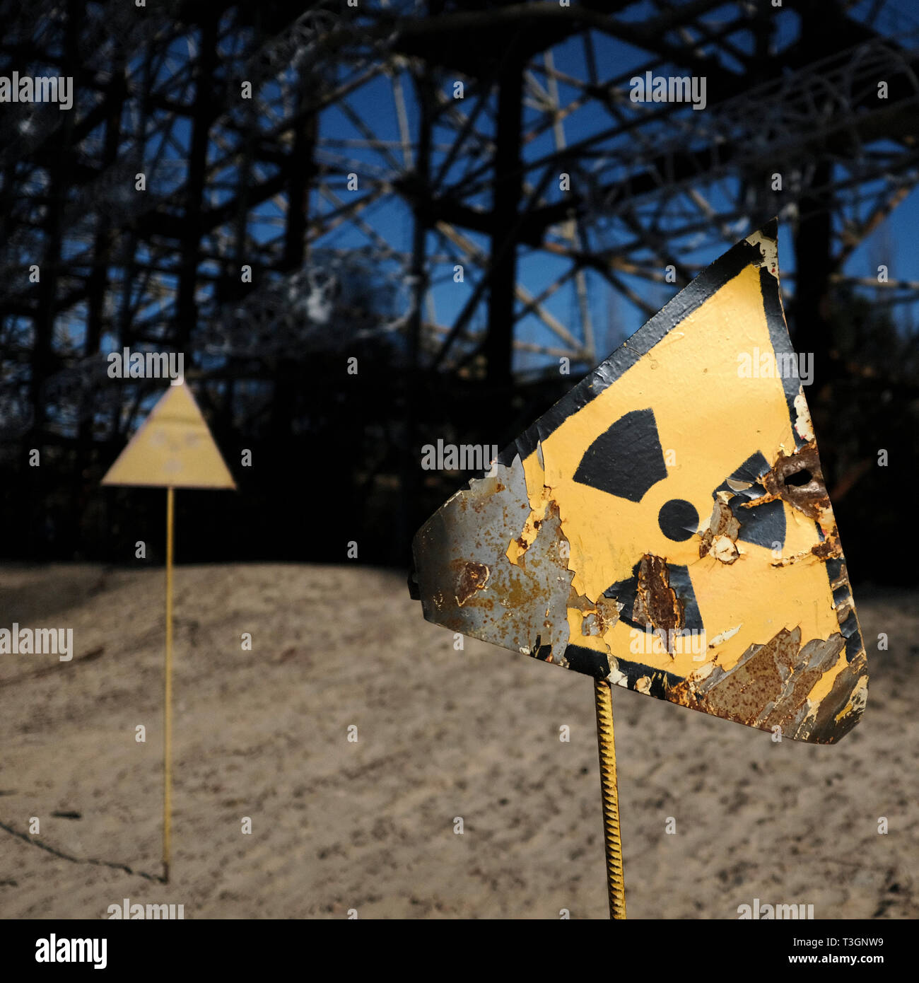Radiation warning in the exclusion zone of Chernobyl, Ukraine, April 2019 Stock Photo