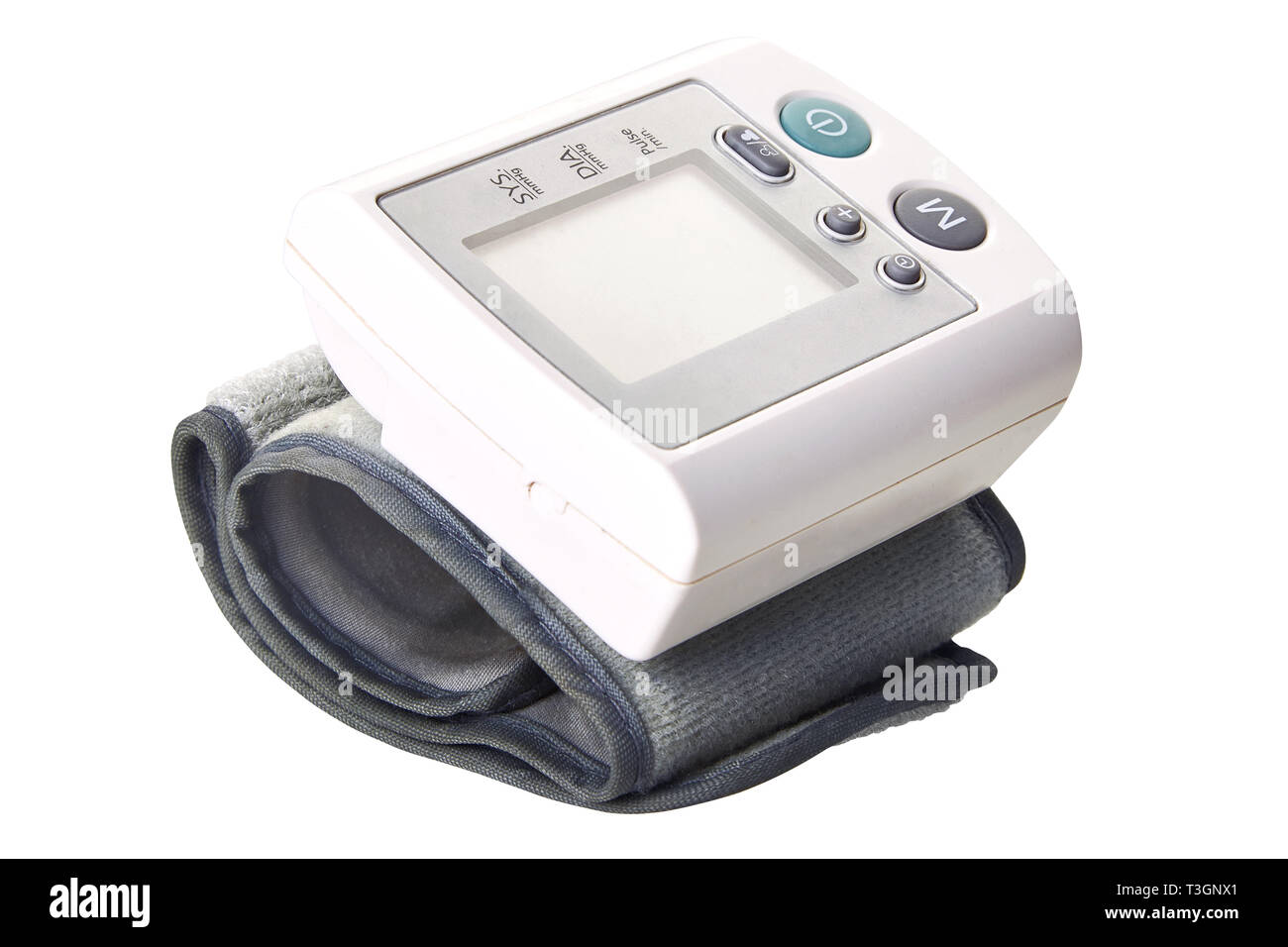 Portable digital blood pressure monitor. Wrist tonometer. Isolated on white background. Blood Pressure Monitor on white background. Medical equipment. - Stock Image
