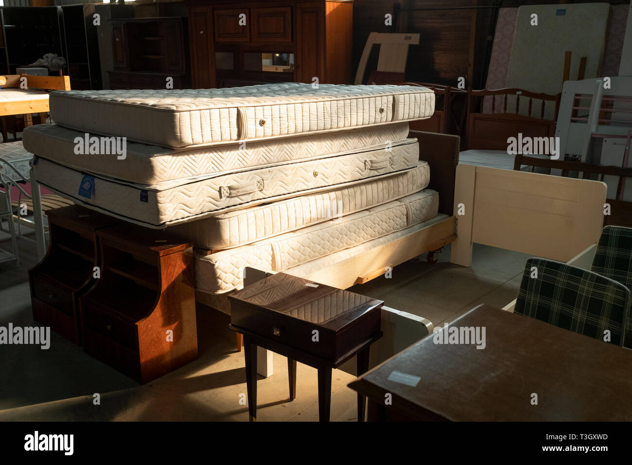 Used mattresses for sale at second-hand warehouse Stock ...