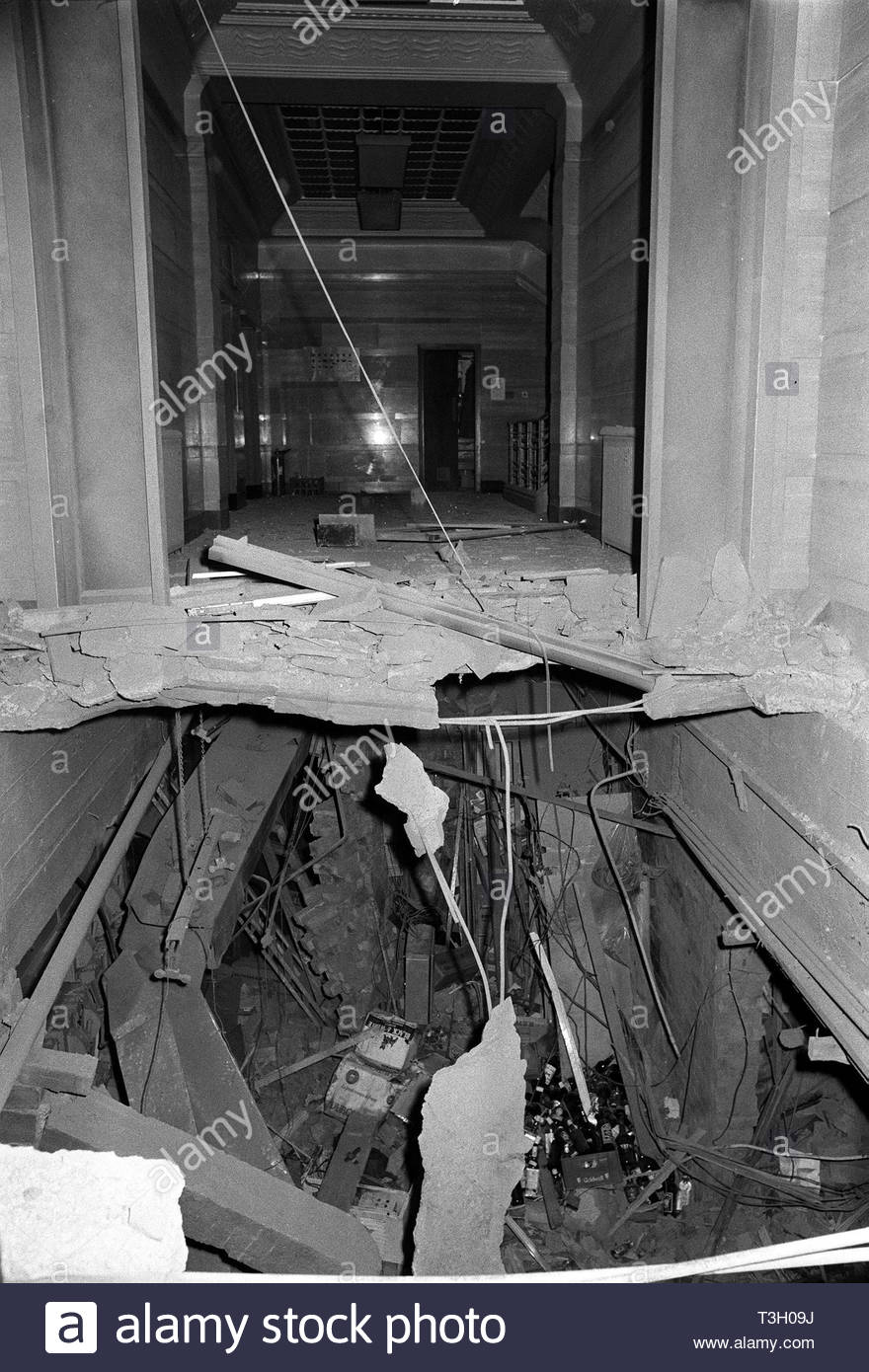 File photo dated 22/11/74 of the wreckage left at The Tavern in the Town pub in Birmingham after a bomb exploded in an underground bar. A botched warning call by the IRA caused or contributed to the deaths of 21 people killed in the 1974 Birmingham pub bombings, an inquest jury at the city's civil court has concluded. - Stock Image