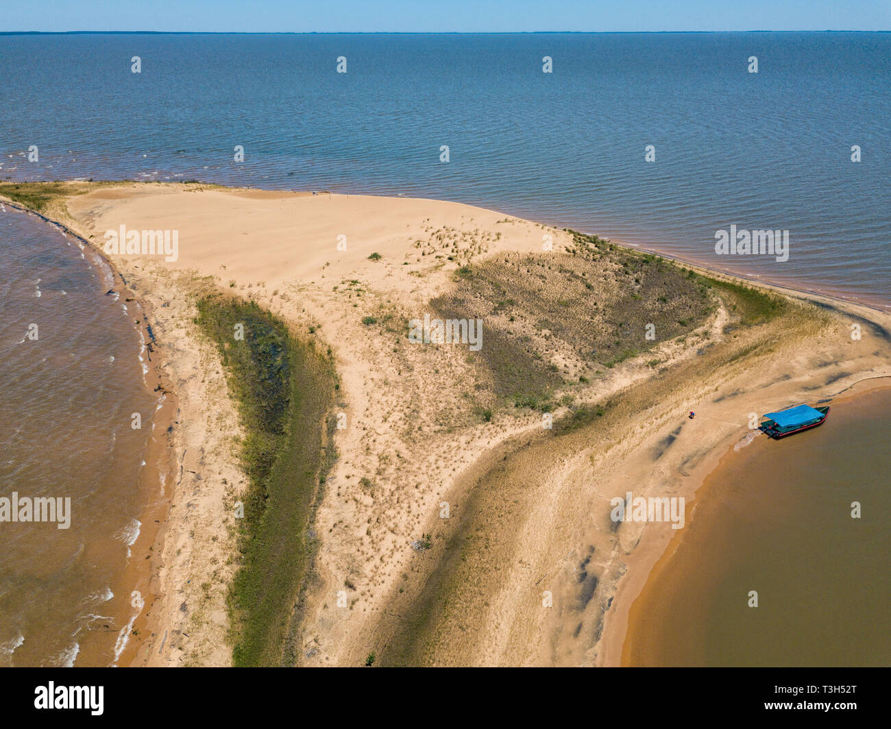 Aerial view from a height of 50 meters, from the dune island 'Las Dunas de San Cosme y Damian' in the middle of the Rio Parana near the city of Encarn - Stock Image