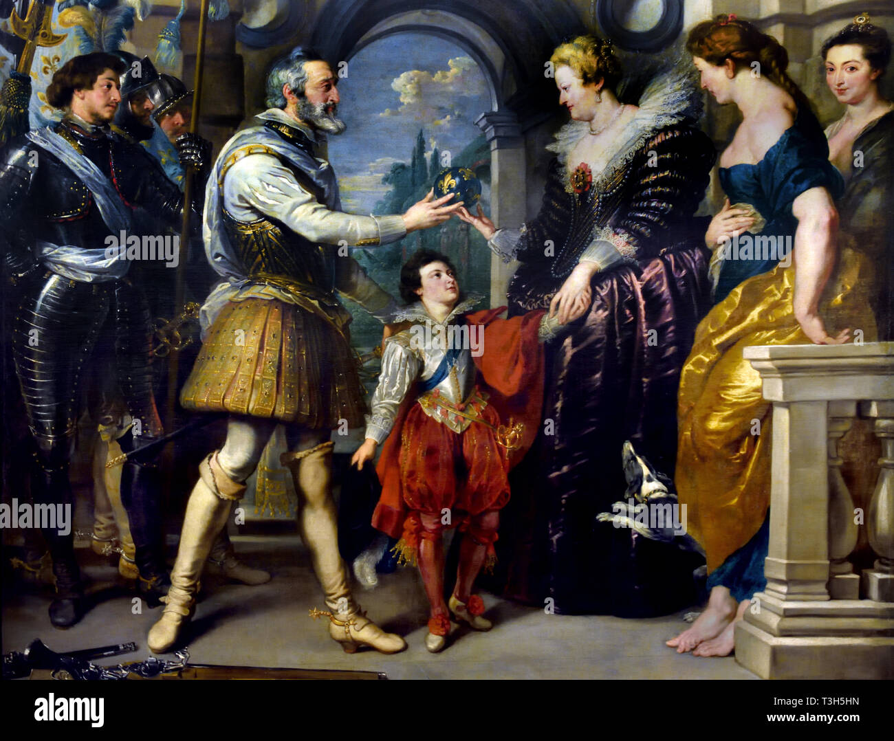 The Consignment of the Regency - The Marie de' Medici Cycle 1622-1624  by Peter Paul Rubens commissioned by Queen Marie de' Medici, widow of King Henry IV of France, for the Luxembourg Palace in Paris, - Stock Image