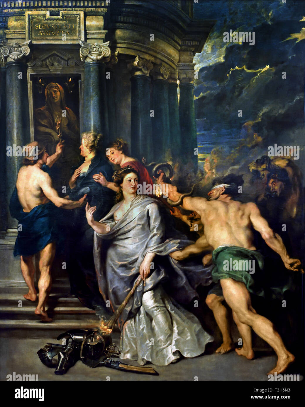 The Queen Opts for Security - The Marie de' Medici Cycle 1622-1624  by Peter Paul Rubens commissioned by Queen Marie de' Medici, widow of King Henry IV of France, for the Luxembourg Palace in Paris, - Stock Image