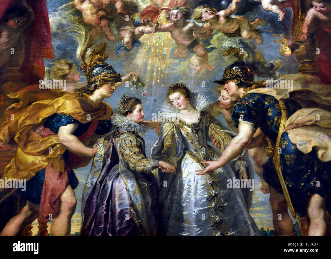 The Exchange of the Princesses at the Spanish Border - The Marie de' Medici Cycle 1622-1624  by Peter Paul Rubens commissioned by Queen Marie de' Medici, widow of King Henry IV of France, for the Luxembourg Palace in Paris, - Stock Image