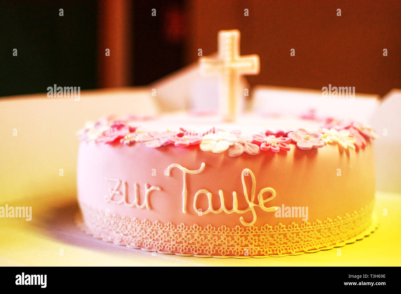 Cake First Holy Communion Cross Stock Photos Cake First
