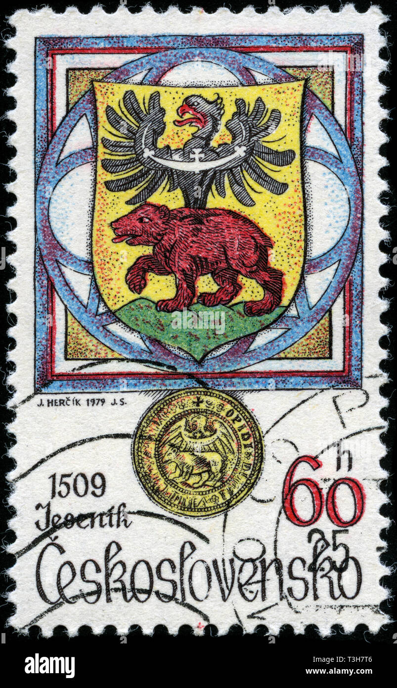 Postage stamp from the former state Czechoslovakia in the Species recorded in heraldice-city privileges series issued in 1979 - Stock Image