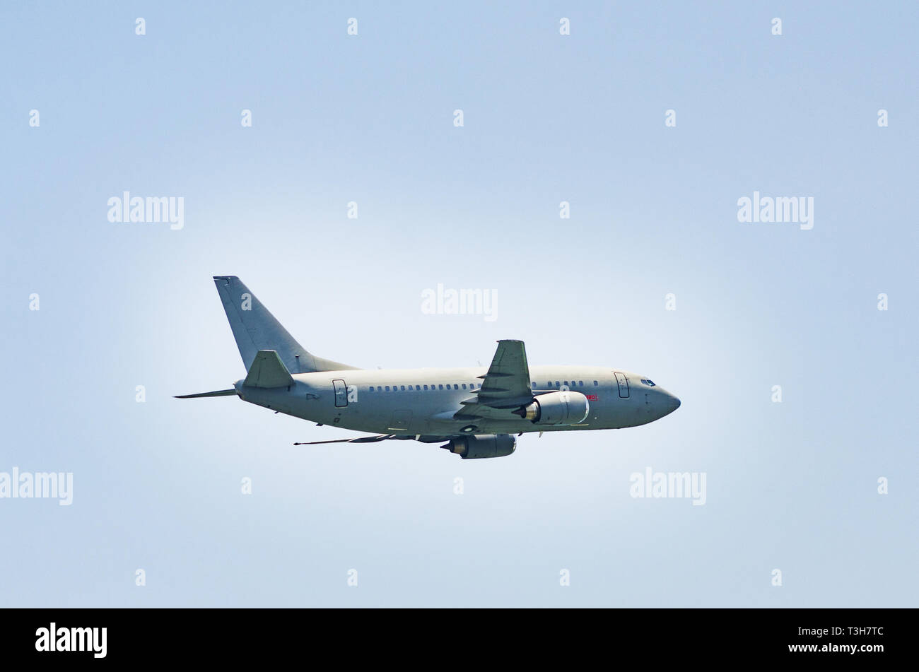 Military plane plowing the skies of Lima - Peru. Stock Photo