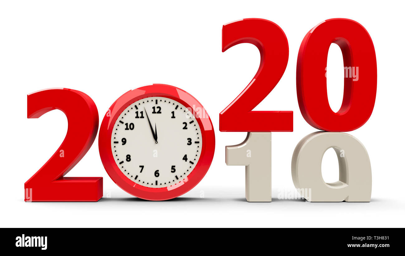 2020.2019 2020 Change With Clock Dial Represents Coming New Year