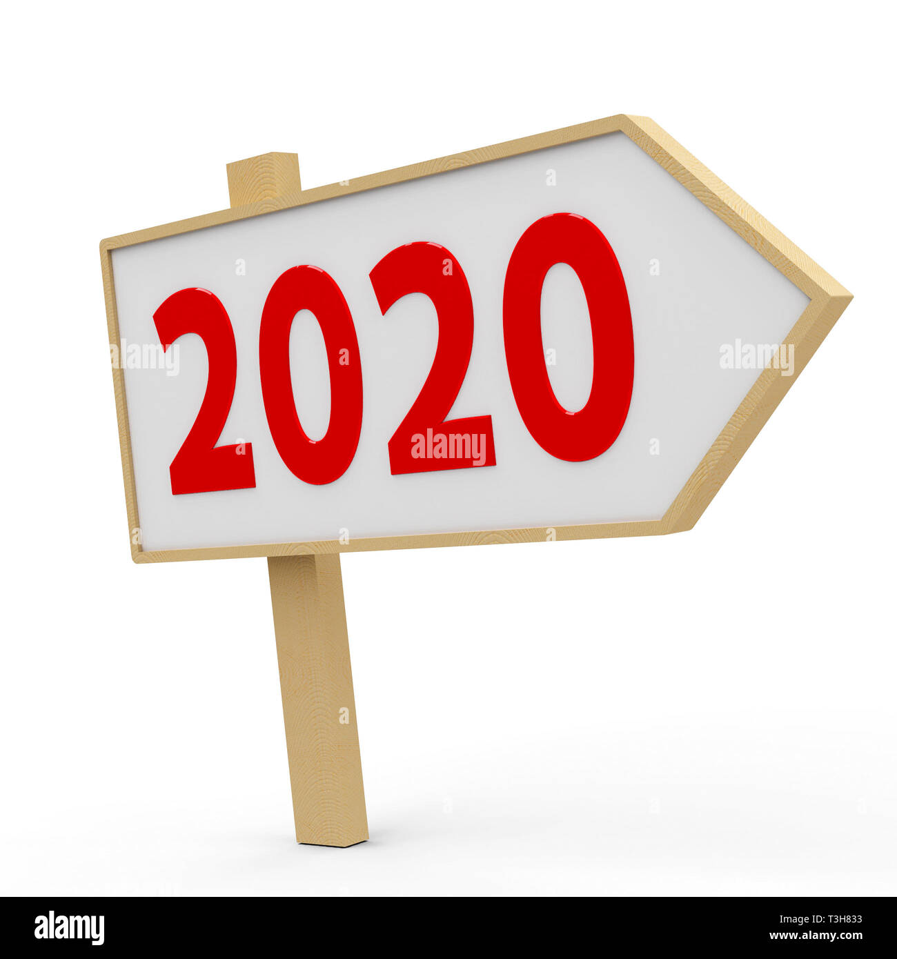 2020 white banner on white background, represents the new year 2020, three-dimensional rendering, 3D illustration Stock Photo