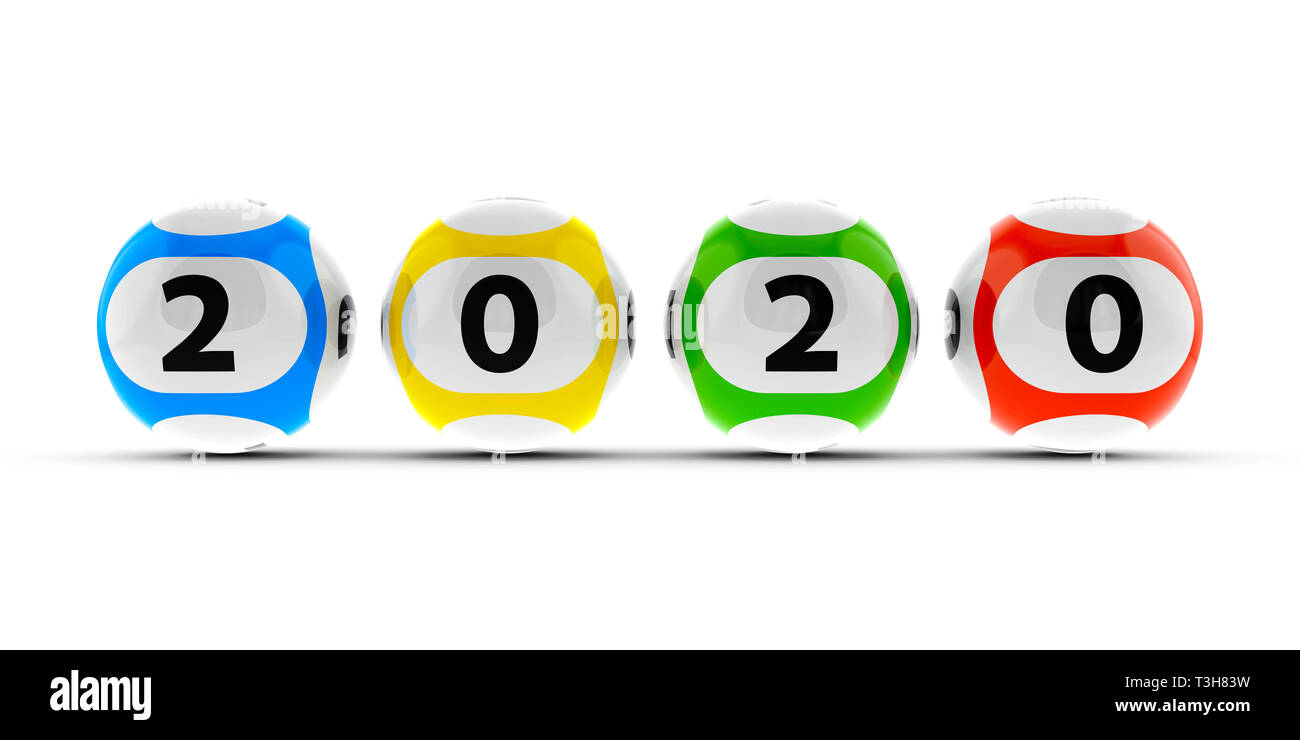 Lottery balls on a white table represents the new 2020 year, three-dimensional rendering, 3D illustration Stock Photo