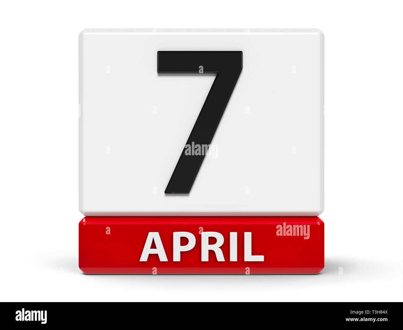 Red and white calendar icon from cubes - The Seventh of April - on a white table - World Health Day and Commemoration of the Rwanda Genocide, three-di - Stock Image