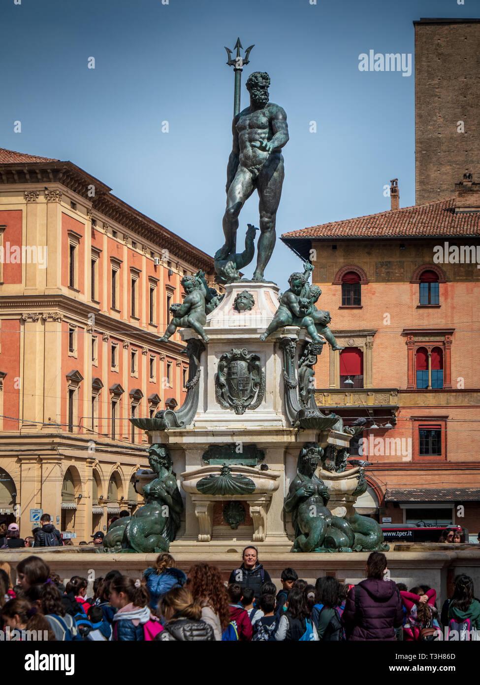 Fountain of Neptune Fontana di Nettuno, a monumental civic fountain located on Piazza del Nettuno next to Piazza Maggiore. Created 1565 by Giambologna - Stock Image