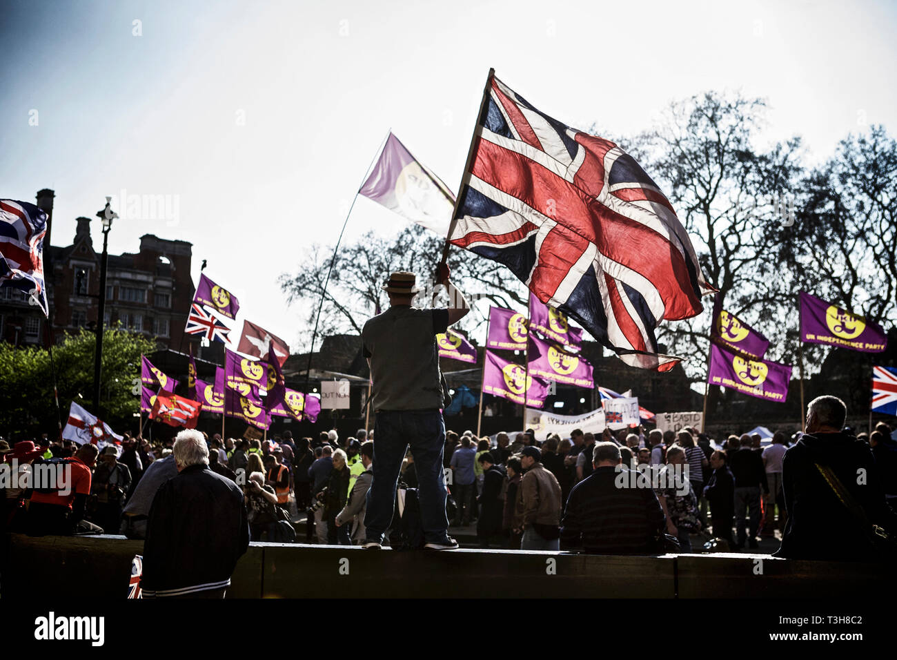 Political rally uk / politics uk / political protest - protester holding a flag on a peaceful march pro Brexit rally on 29 March, Brexit day 2019 - Stock Image