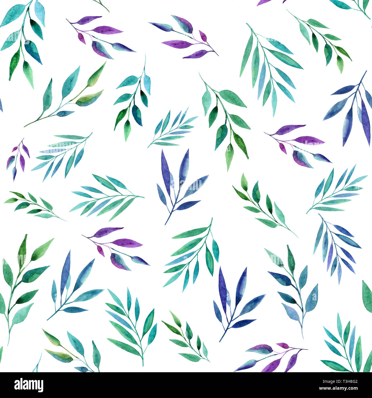 Abstract Color Branches Seamless Pattern Watercolor