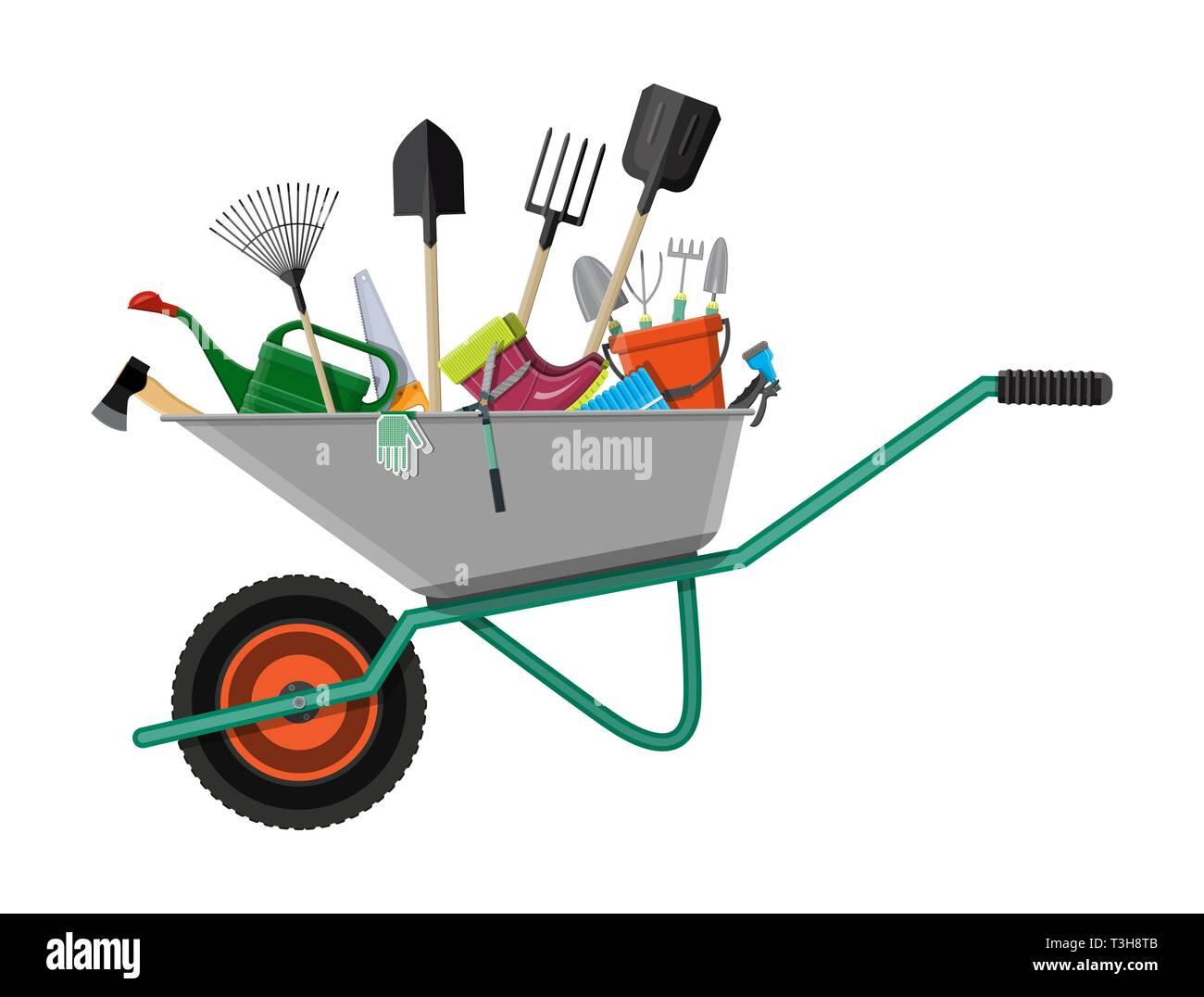 . Gardening tools set in wheelbarrow  Equipment for garden  Saw bucket