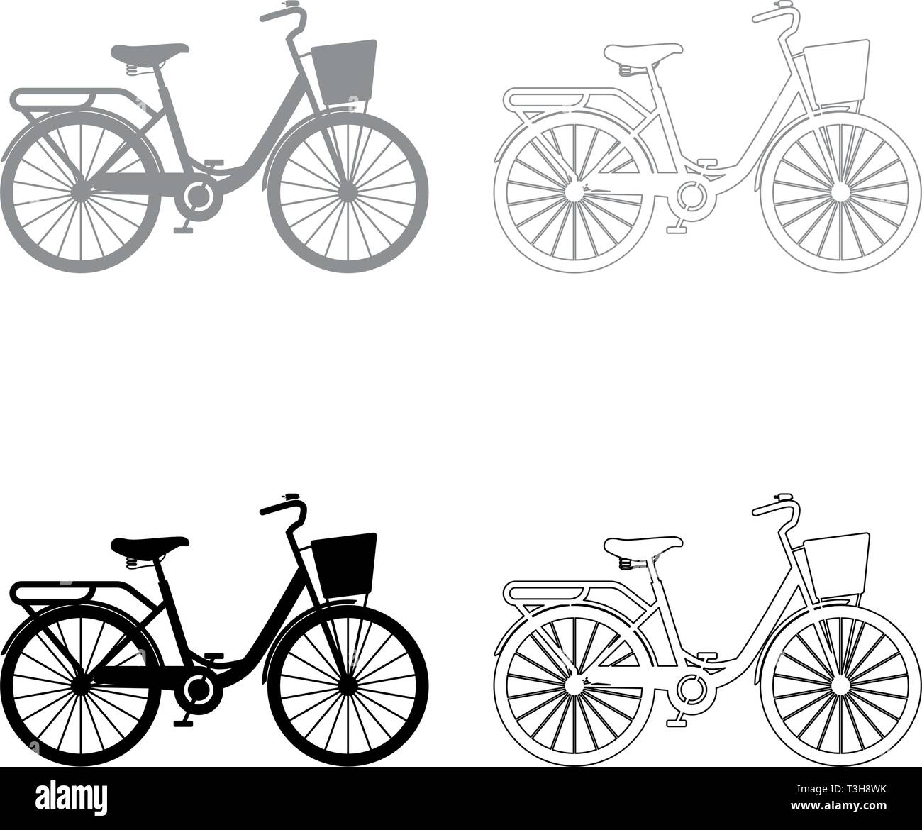 Woman's bicycle with basket Womens beach cruiser bike Vintage bicycle basket ladies road cruising icon set black grey color vector illustration flat - Stock Image