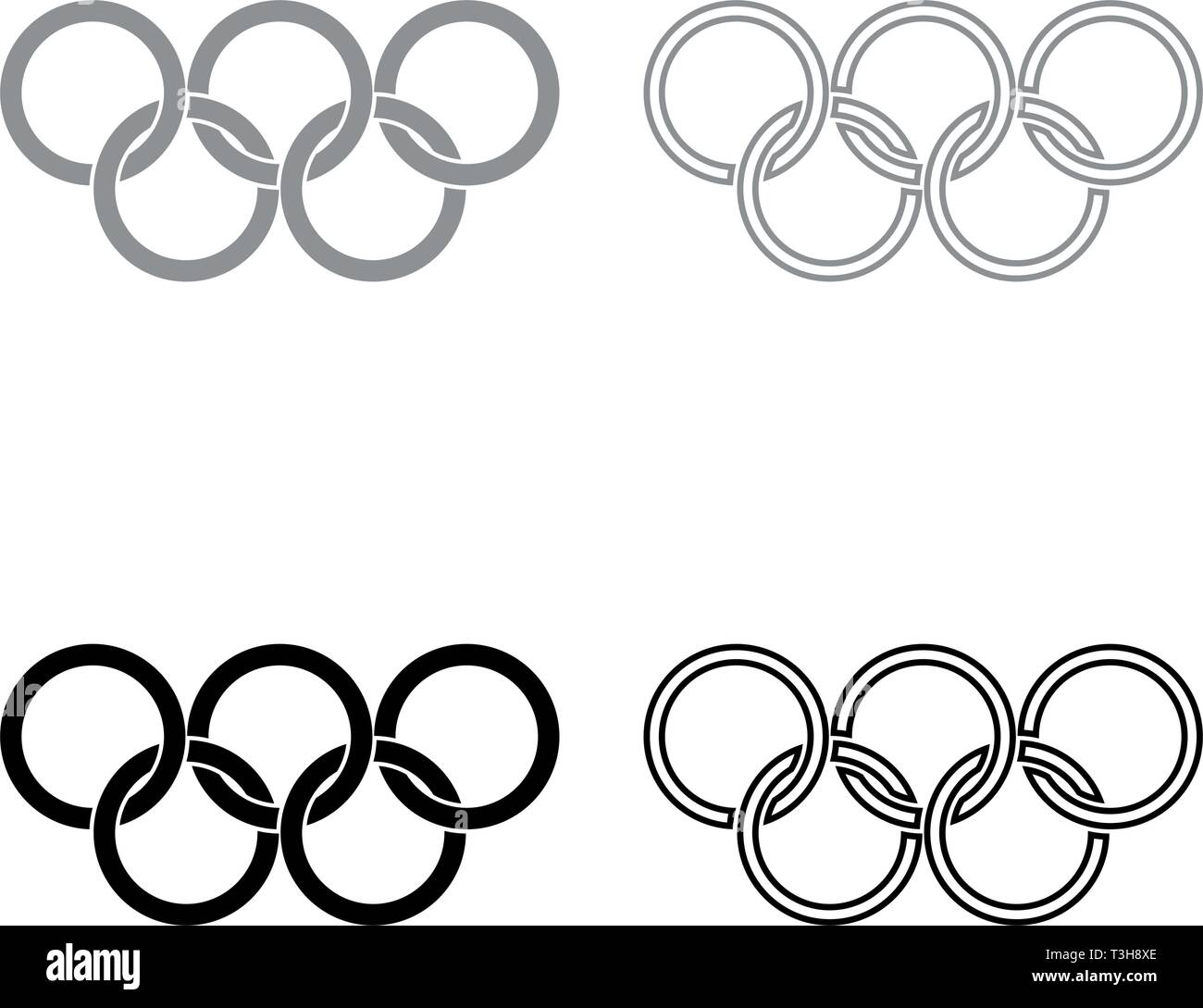 Olympic rings Five Olympic rings icon set black grey color vector illustration flat style simple image - Stock Vector